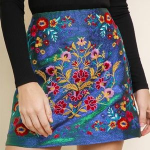 1 left Iridescent embroidered floral skirt
